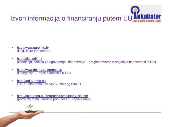 Izvori informacija o financiranju putem EU