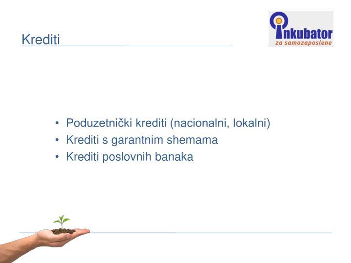 Poduzetnički krediti (nacionalni, lokalni)