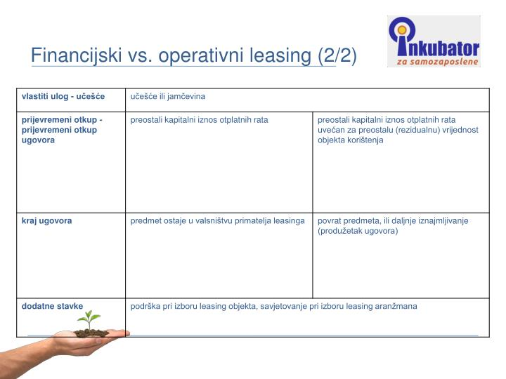Financijski vs. operativni leasing (2/2)