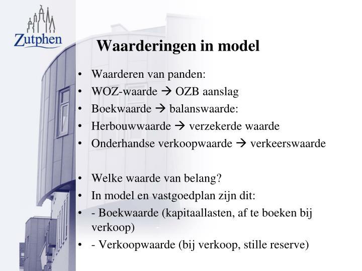 Waarderingen in model