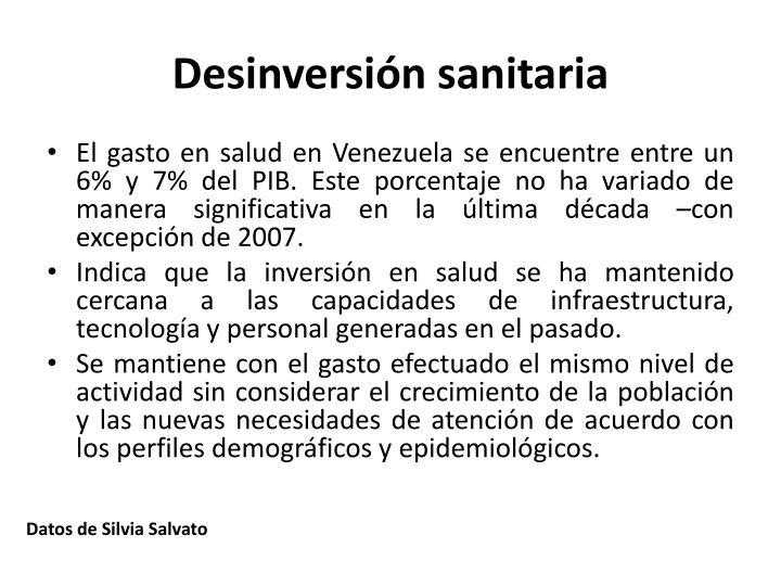 Desinversión sanitaria
