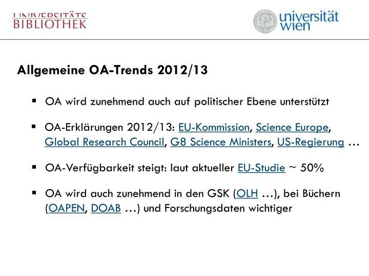 Allgemeine OA-Trends 2012/13