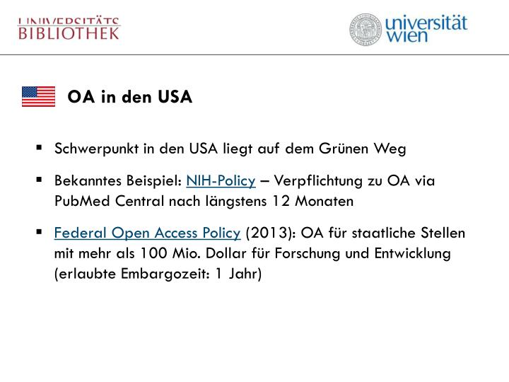 OA in den USA