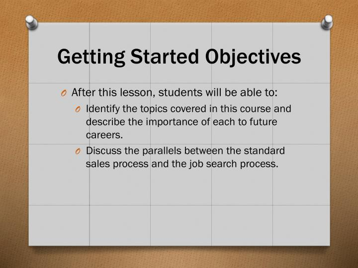 Getting Started Objectives