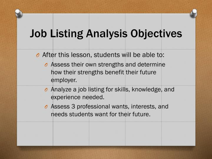 Job Listing Analysis Objectives