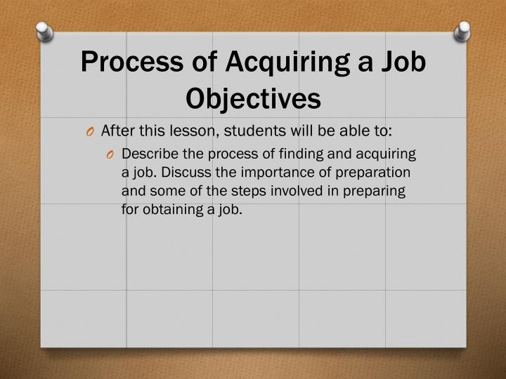Process of Acquiring a Job Objectives