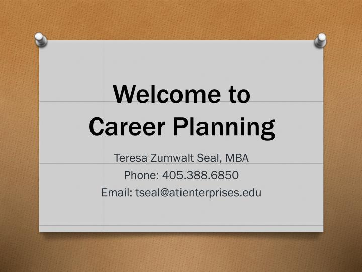 Welcome to career planning