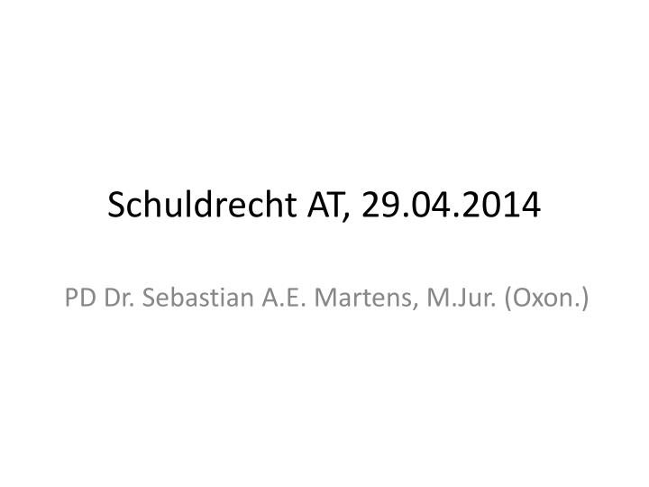 Schuldrecht at 29 04 2014