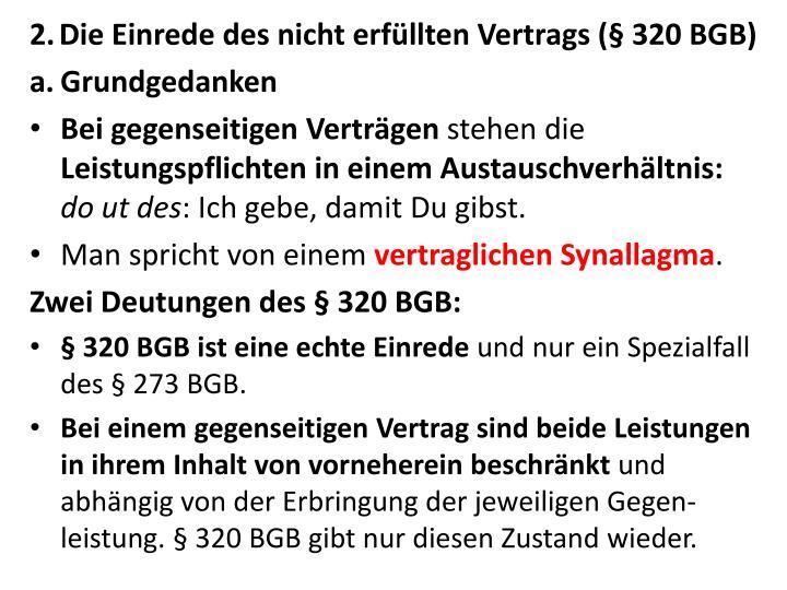 Die Einrede des nicht erfüllten Vertrags (§ 320 BGB)