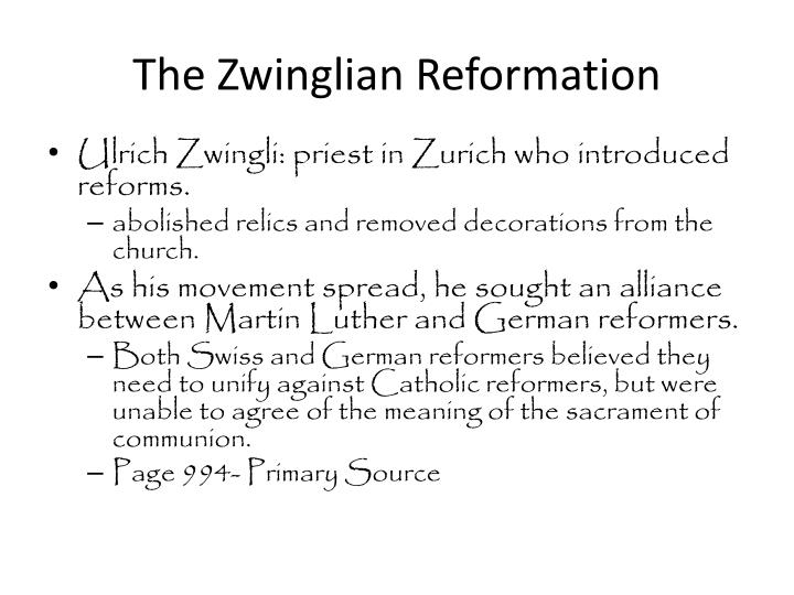 The zwinglian reformation