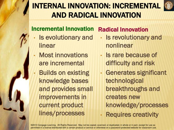 INTERNAL INNOVATION: INCREMENTAL AND RADICAL INNOVATION