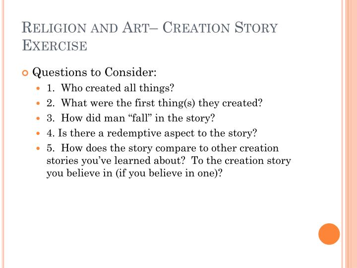 Religion and Art– Creation Story Exercise