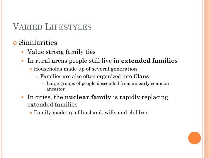 Varied Lifestyles