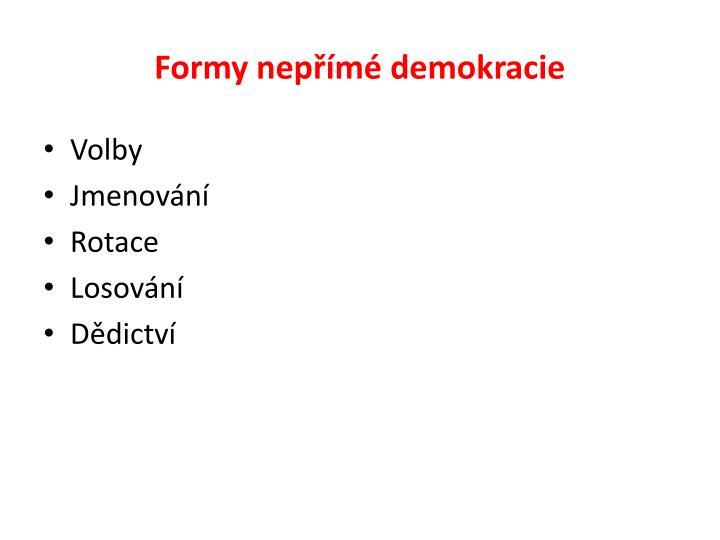 Formy nepřímé demokracie
