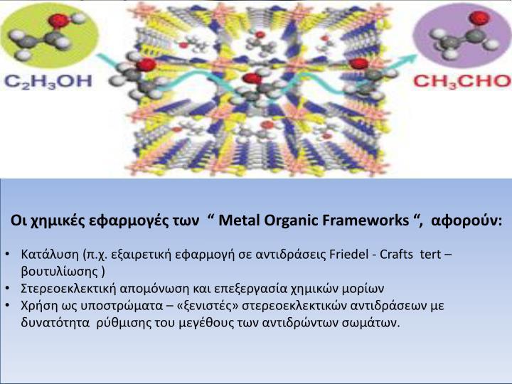 Metal Organic Frameworks (M.O.F.)