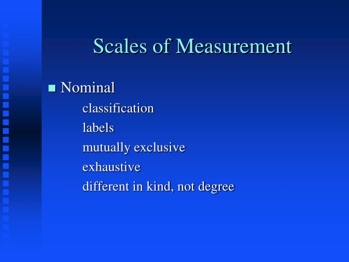 Scales of Measurement