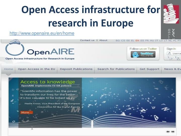 Open Access infrastructure for research in Europe