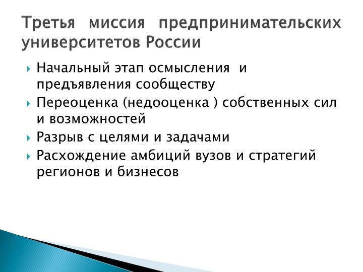 Третья миссия предпринимательских университетов России