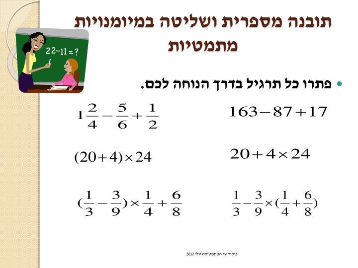 תובנה מספרית ושליטה במיומנויות מתמטיו