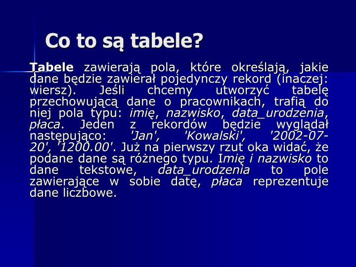 Co to są tabele?
