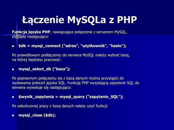 Łączenie MySQLa z PHP
