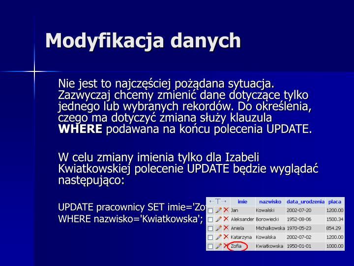 Modyfikacja danych