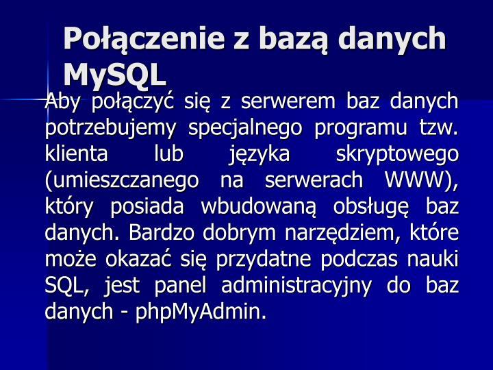 Połączenie z bazą danych MySQL