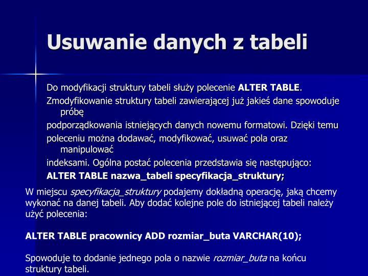 Usuwanie danych z tabeli