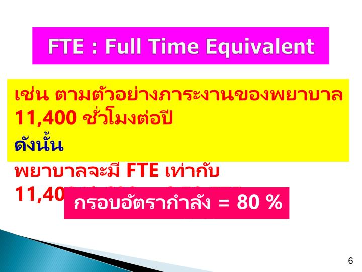 FTE : Full Time Equivalent