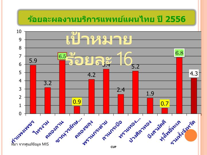 ร้อยละผลงานบริการแพทย์แผนไทย ปี