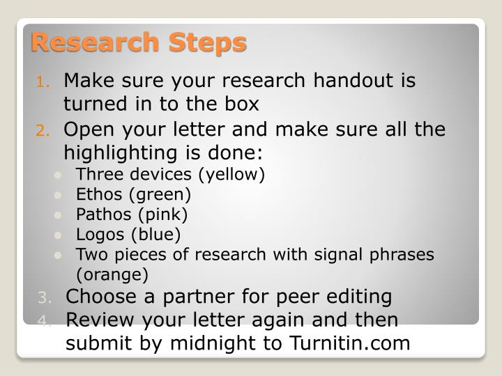 Make sure your research handout is turned in to the box