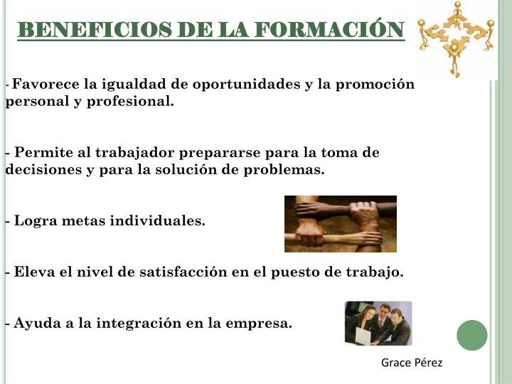 BENEFICIOS DE LA FORMACIÓN