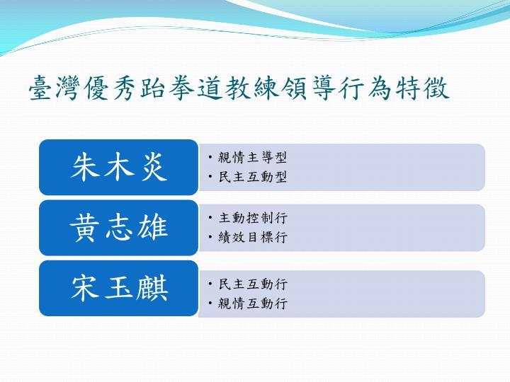 臺灣優秀跆拳道教練領導行為特徵