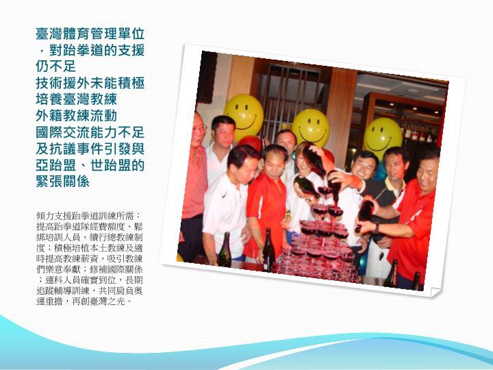 臺灣體育管理單位,對跆拳道的支援仍不足