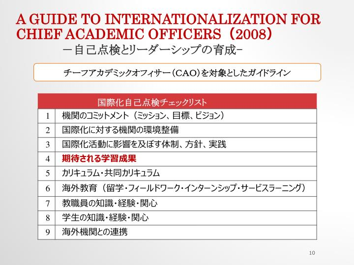 A Guide to Internationalization for Chief Academic Officers