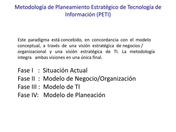 Metodología de Planeamiento Estratégico de Tecnología de  Información (PETI)