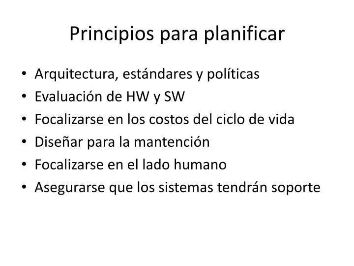 Principios para planificar