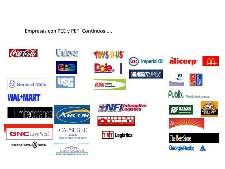 Empresas con PEE y PETI Continuos.....