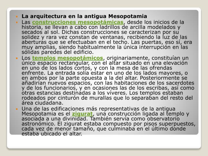 La arquitectura en la antigua Mesopotamia