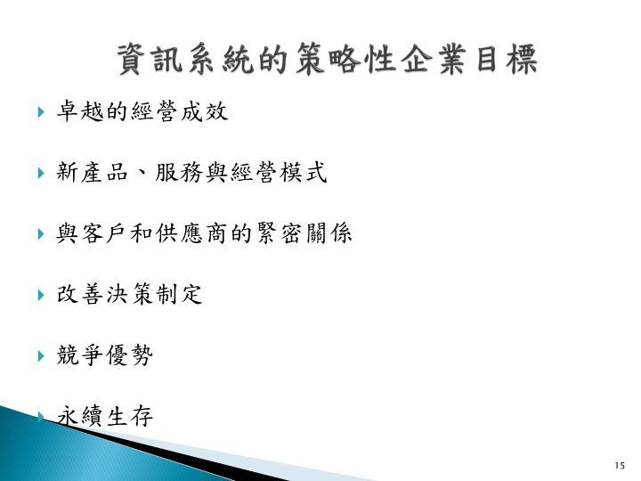 資訊系統的策略性企業目標