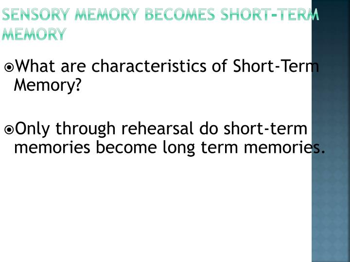 Sensory Memory Becomes Short-Term Memory