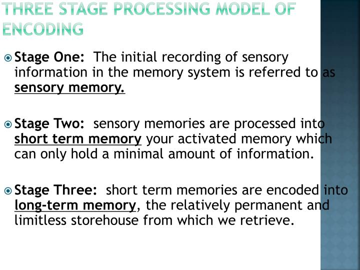 Three Stage Processing Model of Encoding