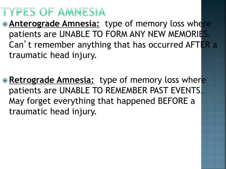 Types of Amnesia