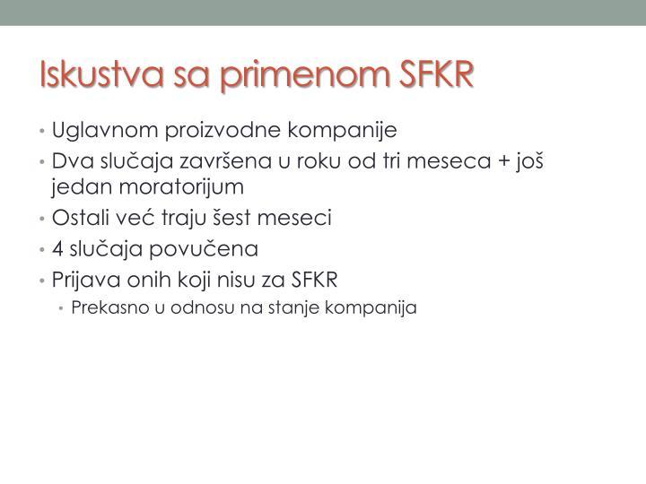 Iskustva sa primenom SFKR