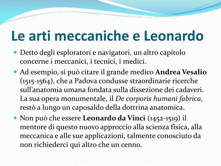 Le arti meccaniche e Leonardo