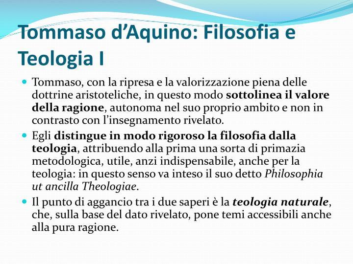 Tommaso d'Aquino: Filosofia e Teologia I