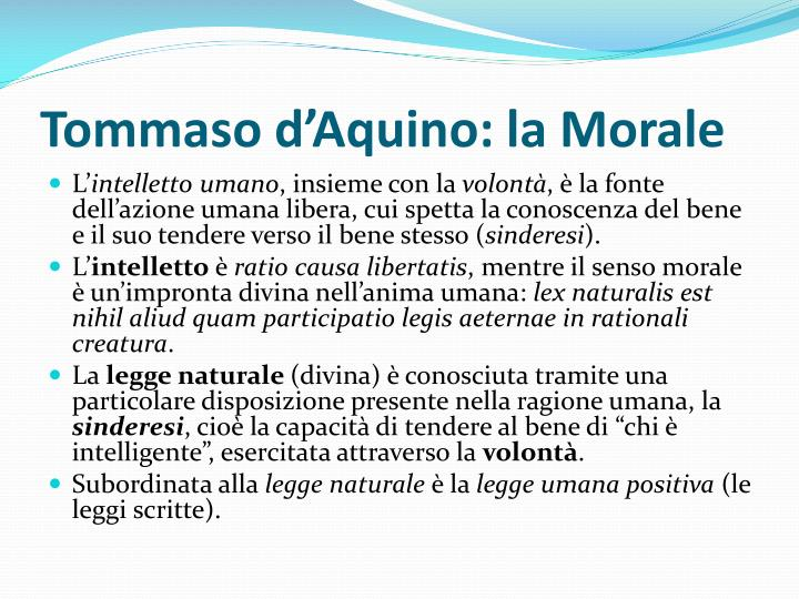Tommaso d'Aquino: la Morale