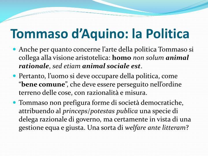 Tommaso d'Aquino: la Politica