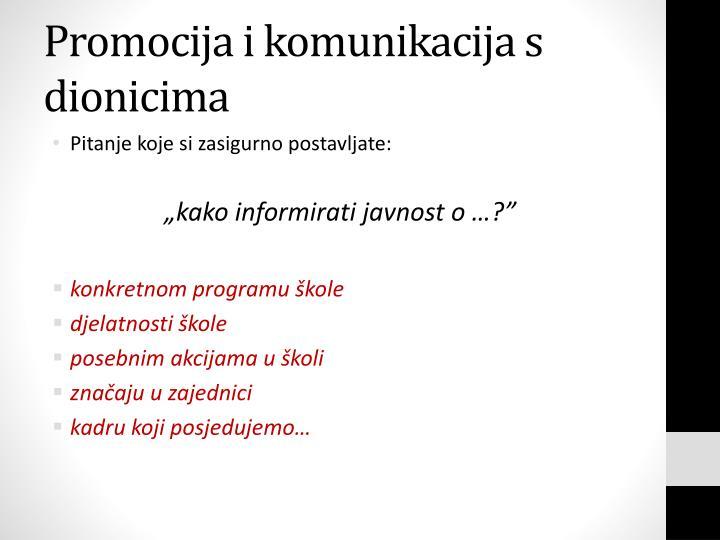 Promocija i komunikacija s dionicima