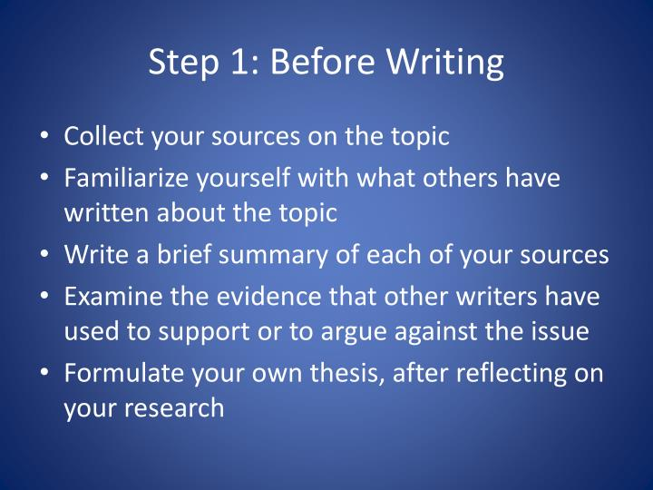 Step 1: Before Writing